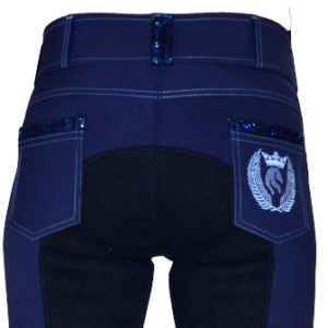 Electrial blue Fullseat breeches in Eco bamboo fiber